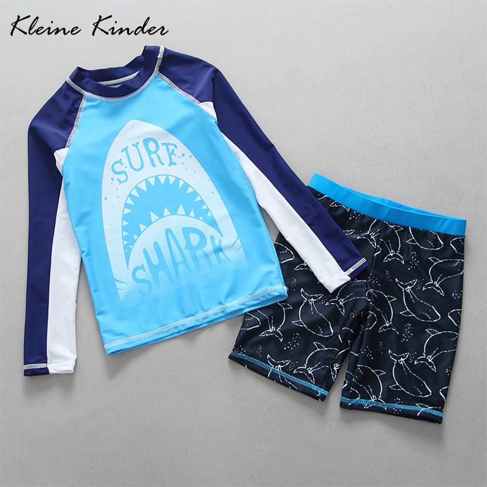 2-15 Years Toddler Boy Swimwear Sun Protection Long Sleeve Children Swimsuits for Boys Two Pieces Rash Guards Shark Swim Clothes toddler boys swimwear infant baby boy swimsuit shark print long sleeves rash guards beachwear swimming outfits sun block upf50