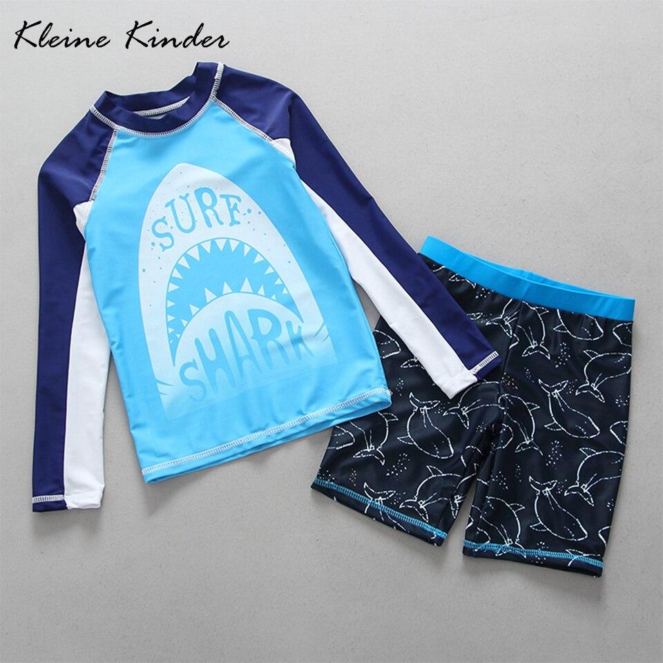 2-15 jahre Kleinkind Junge Bademode Sonnenschutz Langarm Kinder Badeanzüge für Jungen Zwei Stücke Rash Guards Shark schwimmen Kleidung