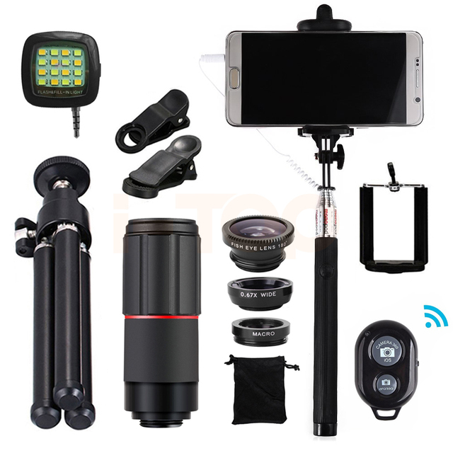 15in1 8x Telephoto Zoom Lenses Telescope Fisheye Wide Angle Macro lens Clips Tripod For camera and phone Xiaomi redmi Meizu HTC