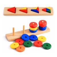 Children Wood Colors Shapes Match Game Assemble Toys Set Kids Brain Teaser Intelligence Development Early Educational Tool