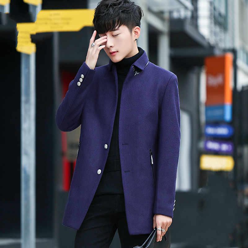 32b72a561d1 ... AYUNSUE Men s Coat Autumn Winter Jackets Woolen Coat Man Slim Korean  Mens Coats Handsome Overcoat Jacket ...