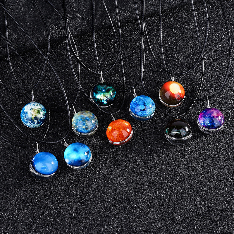 Time Gem Solar System Galaxy Planet Necklace Double Sided Glass Ball Pendant Universe In A Necklace For Women Kids Jewelry
