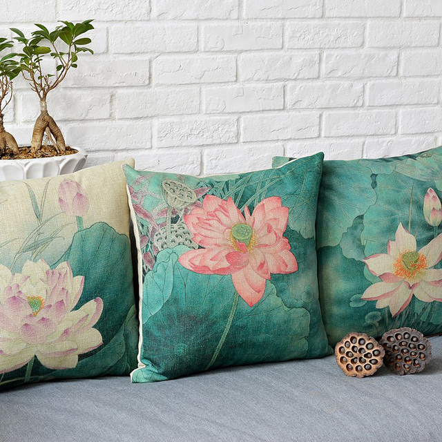 Retro Chinese Classic Printed Pillowcase Ancient Lotus Cushion Decorative Pillows Christmas Decorations For Home Throw Pillow
