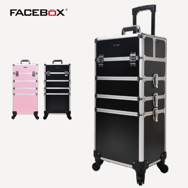 Aluminum Facebox 4 In 1 Professional Trolley Makeup Box With Removerable Tray Beauty Case For
