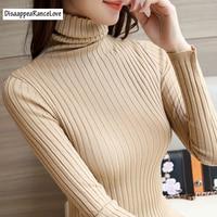 Disappearancelove 2017 Turtleneck Sweater Basic Shirt Long Sleeve Pullover Slim Sweater Winter Women S Short Design