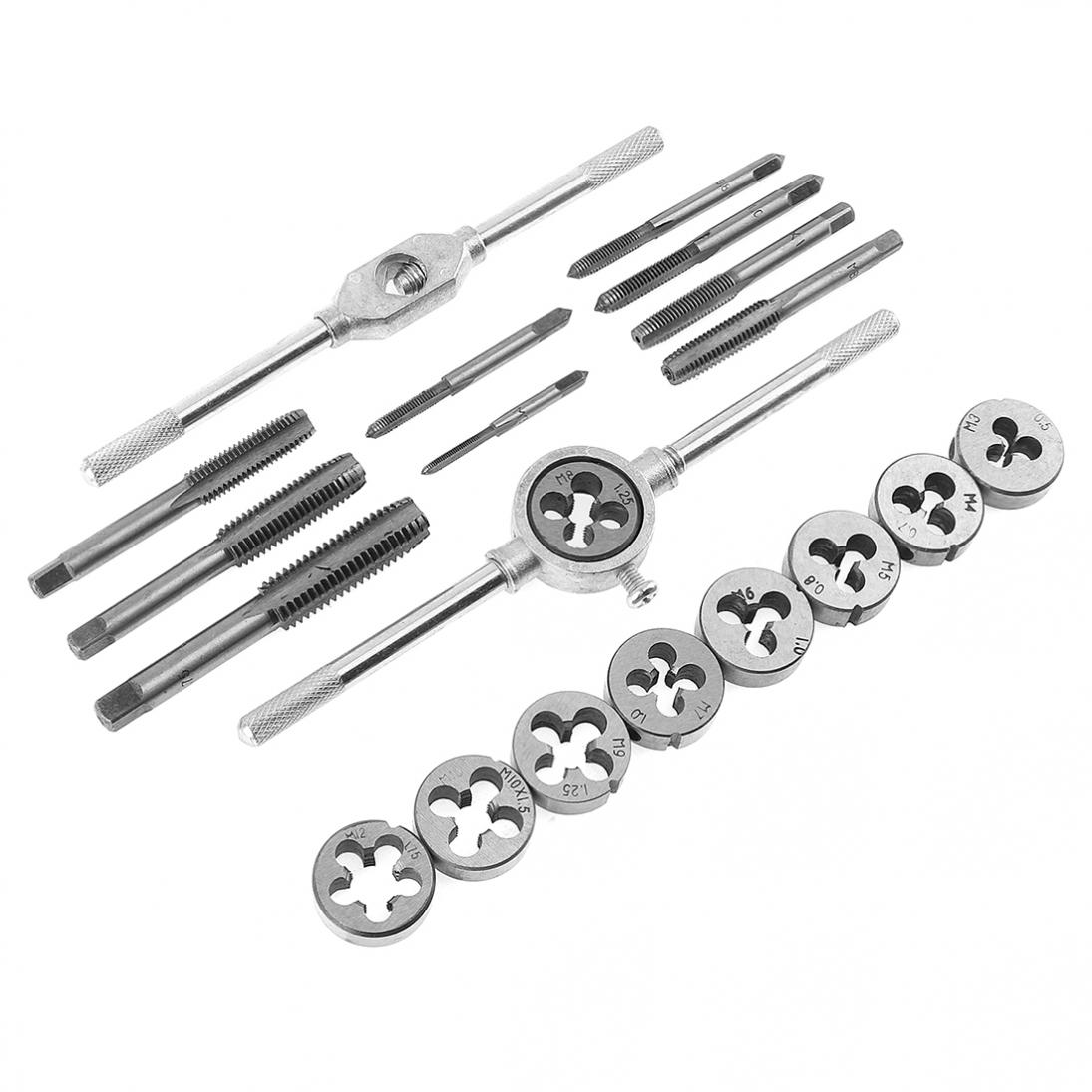 20pcs Alloy Steel Tap & Die Set with Small Tap Twisted Hand and 1/16-1/2 Inch NC Screw Thread Plugs Hand Screw Taps 20pcs m3 m12 screw thread metric plugs taps tap wrench die wrench set