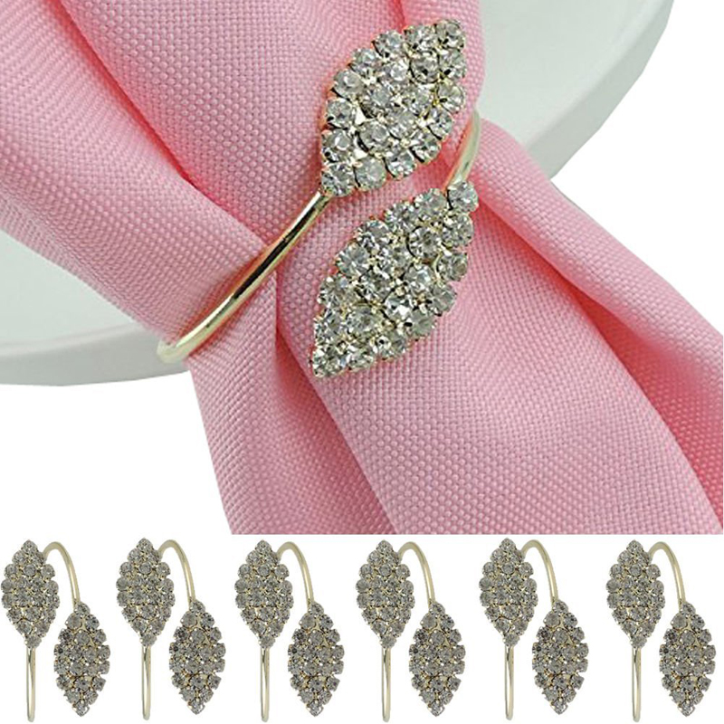 6pcs Pearl Flower Rhinestone Holder Wedding Banquet Dinner Napkin Ring  Exquisite Hotel Restaurant Dedicated Mouth Cloth Napkin