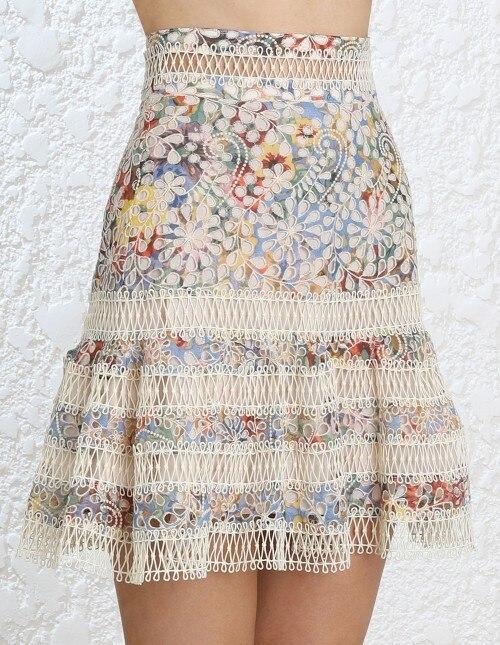 Для женщин с высокой талией слегка расклешенным низом разноцветные цветочные Кружево мини юбка Кружево ушко юбка lovelorn Flutter Skirt