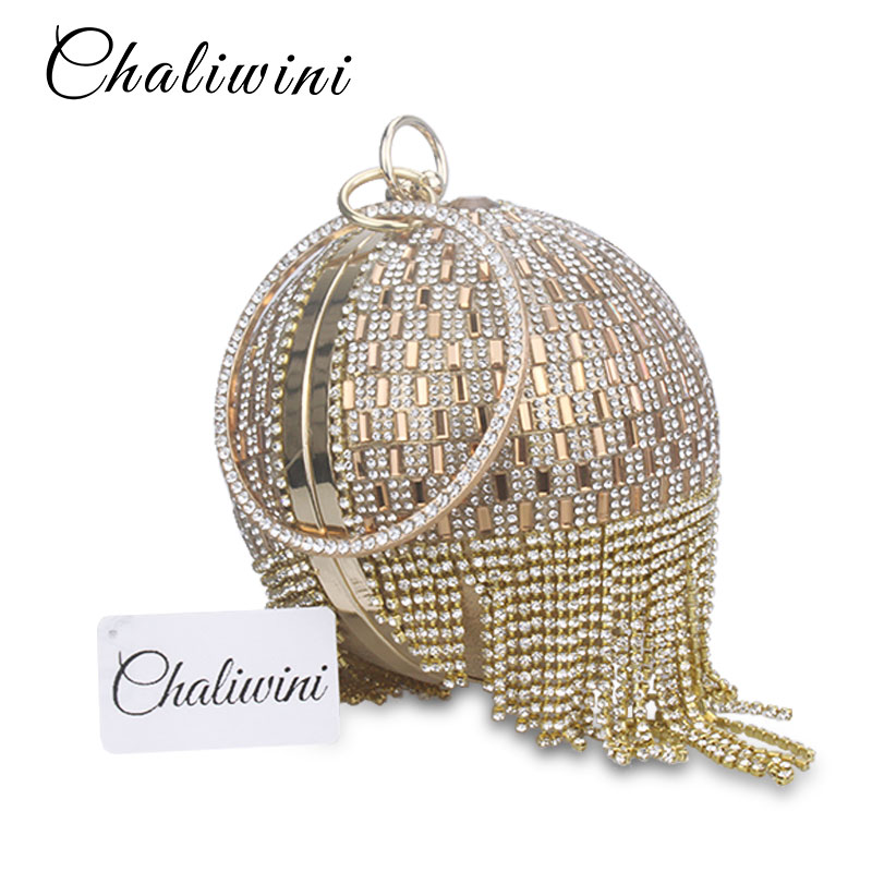 Golden Diamond Tassel Women Party Metal Crystal Clutches Evening Bags  Wedding Bag Bridal Shoulder Handbag Wristlets Clutch Purse-in Top-Handle  Bags from ... 415234decb62