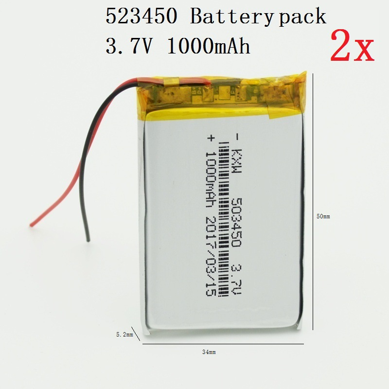 2x 1000mAh 523450 Battery Pack Li-polymer Rechargeable Batteries 3.7V for GPS MP4 Cell Phone Speaker DVR A-CLASS MP3
