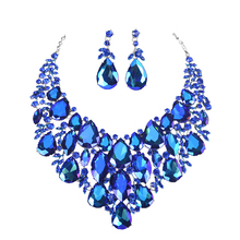 Fashion Big marquise AB Crystal Statement Necklace Earrings set Bridal Jewelry Sets for Brides Weddi