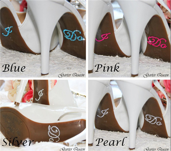1 Set of I DO and ME TOO Clear Rhinestones decoration Wedding decal Wedding  Shoe stickers dc84e6cb63d5