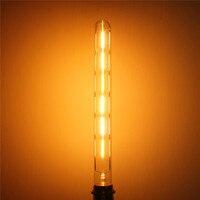Vintage Edison Bulb E27 E26 Dimmable T30 6W COB LED Retro Filament Light Bulb Tubular Lamp