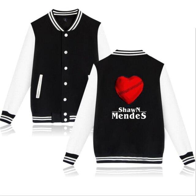 Moda Hip Hop marca ropa cantante Shawn Mendes lana chaqueta de béisbol  hombres mujeres Streetwear cc1f24a61fe