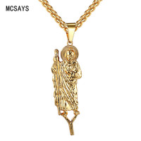 2017 New Arrival Hip Hop Jewelry Crutches Old Man Pendant Long Chain Necklace Bling Faith Lovely