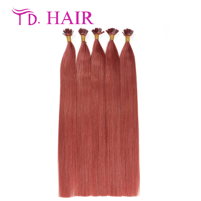 #p35 Stick hair flat tip keratin hair extensions Russian virgin hair double drawn brazilian virgin hair straight on sale