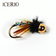 ICERIO 6PCS Brass Bead Head Chironomidae Midge Pupa Nymphs Fly Fishing Trout Bait #12