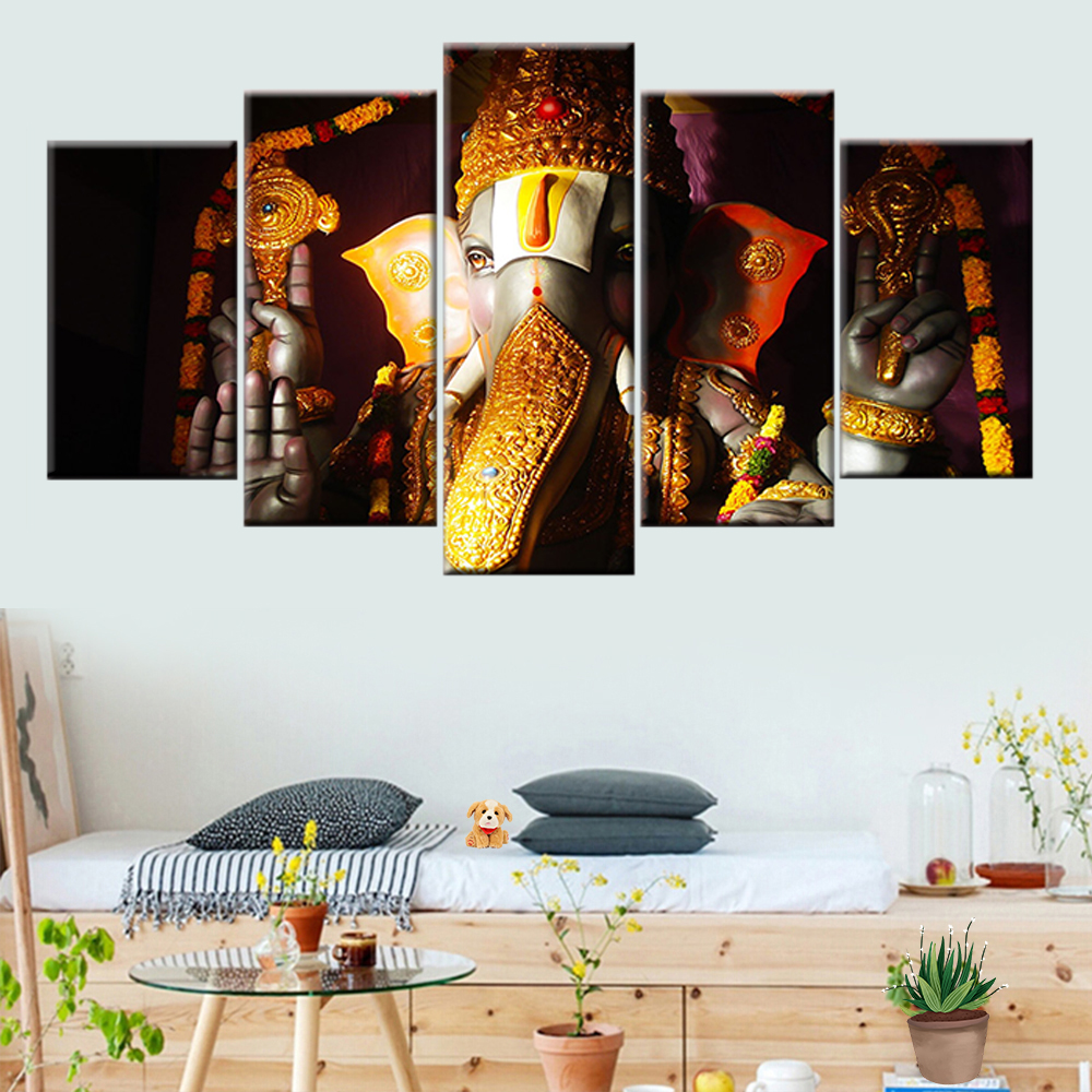 Ganesha poster 5 pieces elephant Ganesh Indian religious lord Balaji canvas painting wall art picture home decoration in Painting Calligraphy from Home Garden