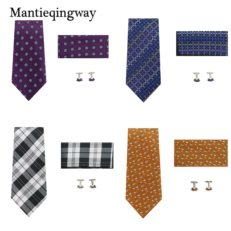 Mantieqingway Business Tie Set For Men Casual Pocket Square Towel New Brown Dots Printed Polyester 8.5CM Necktie Cuff Links Suit