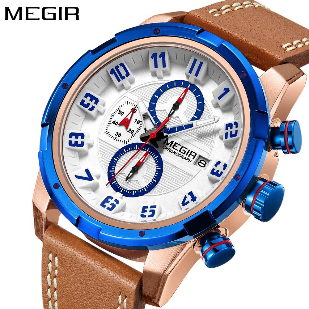 MEGIR Fashion Sport Men Watch Brand leather Army Military Watches Clock Men Quartz Wrist Watch Hour Time Saat Relogio Masculino цена