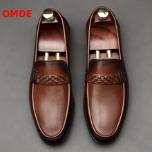 OMDE Spring/Summer Soft Leather Shoes Men Business Casual Breathable Slip On Loafers Handmade Mens Flats Slippers
