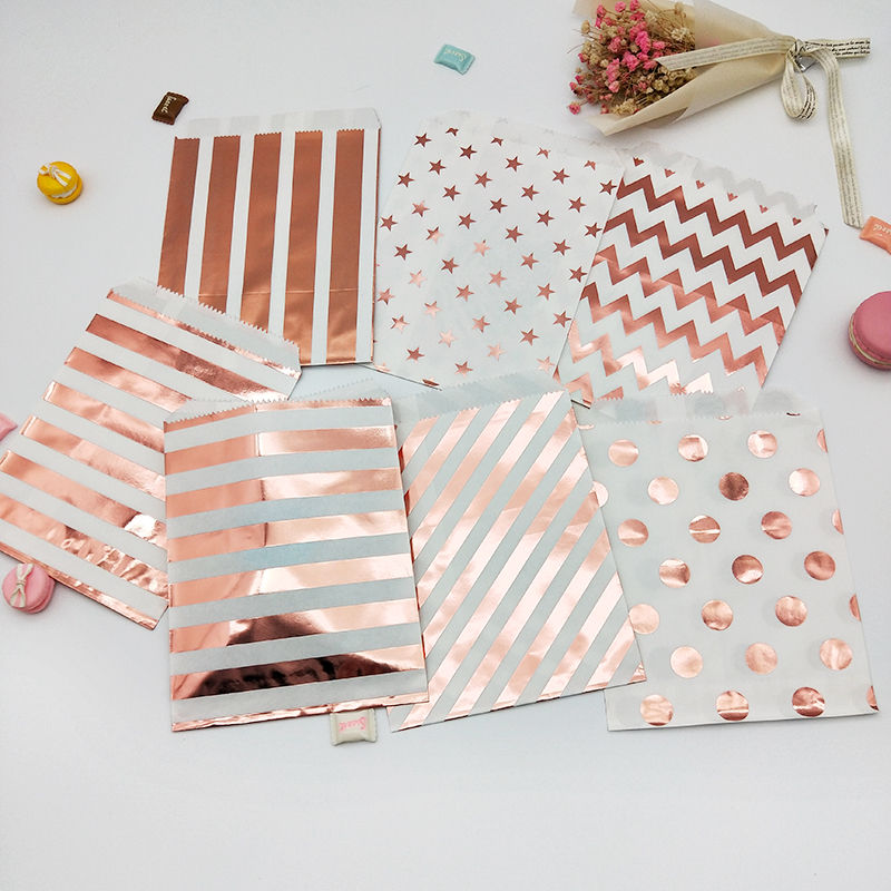25pcs Foil Rose Gold Paper Bag Striped Chevron Star Dot Candy Gift Bags Graduation Wedding Kids Party Favor Cookies Cupcake Bags