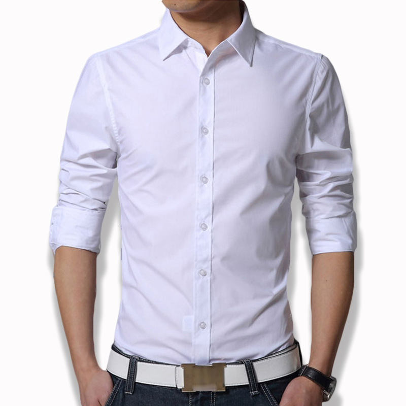 Men's Long Sleeve Fit Slim Dress Shirt Xxxl Plain White Army Green Navy Blue Black Men Formal Shirts Clothing Plus Size CS12