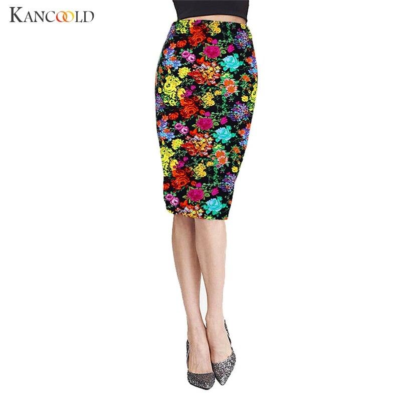 النساء التنانير قلم أنيق الزهور طباعة السيدات الركبة طول تنورة مرونة عالية الخصر حزمة الورك bodycon أنثى vestidos Jan20