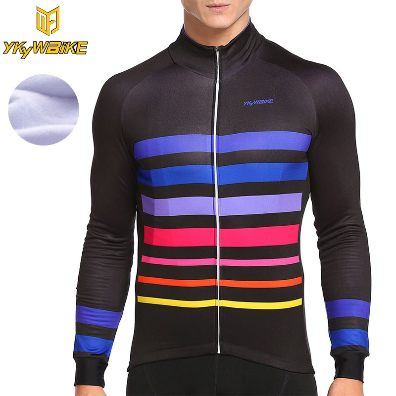 YKYWBIKE Winter Thermal Fleece Men Cycling Jersey MTB 2017 Hombre Maillot Ropa Ciclismo Pro Team Long Sleeve Clothing Bike Shirt 2016 fluor pro team sky cycling long jersey winter thermal fleece long bike clothing mtb ropa ciclismo bicycling maillot culotte