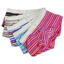 Designed Men's Striped Boxer Shorts Trunks 5Pcs/Lot Wholesale Men Cotton Underwear Underpants Breathable Bulge Pouch Boxers Hot u contour pouch striped panel trunks