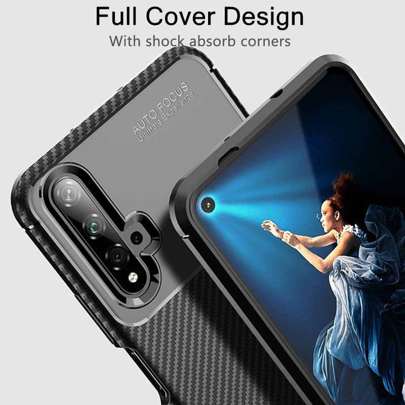 Caso magro Para Huawei Honor 20 Caso Capa À Prova de Choque Caso de Telefone De Fibra De Carbono Para Honra 20 Pro Lite Caso Macio TPU Silicone Bumper