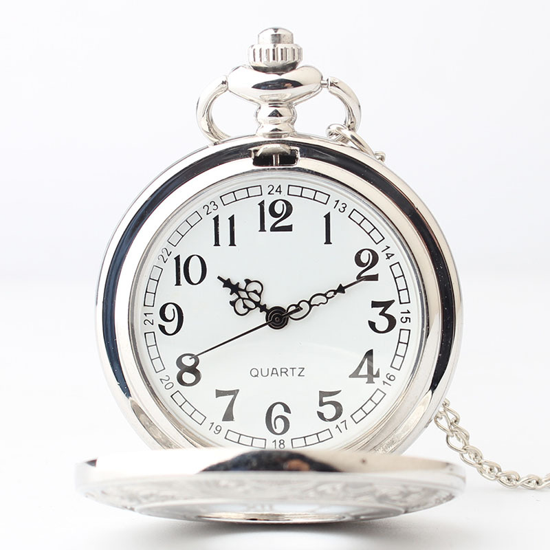 Silver Roman Numeral Window Pocket Watch