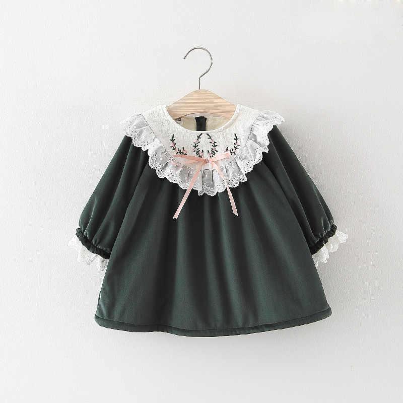 ילדים בנות שמלת חם סתיו חורף בגדי ילדים קטיפה נסיכת תחפושות שנה החדשה צמרות עבור תינוק רקמת תחרה שמלות