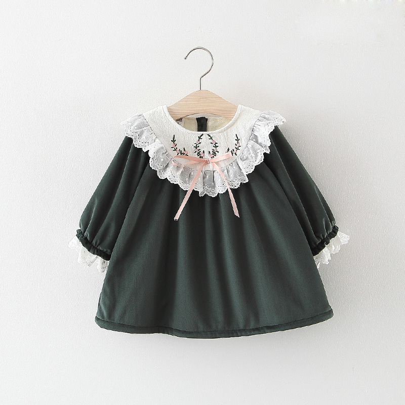 Kids Girls Dress Warm 2018 autumn Winter new children's clothing Korean plus velvet princess Tops baby embroidery lace dresses