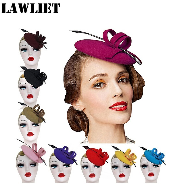 cc154023ef1cf New Winter Ladies Hats Feather Wool Felt Fascinator hats for Women Wedding  Party Curly Pillbox Tilt