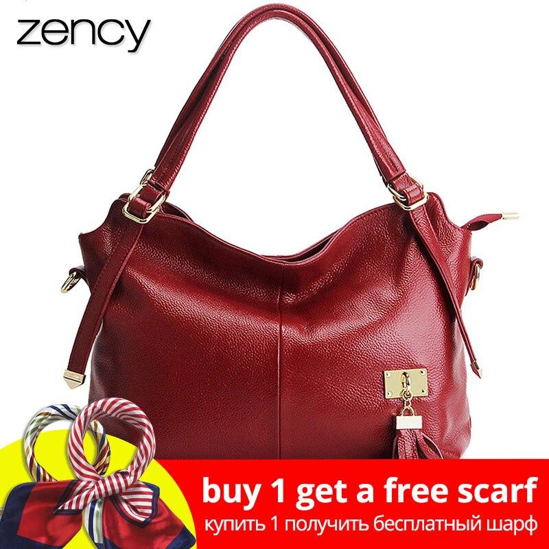 Zency 100% мягкая пояса из натуральной кожи для женщин сумка с кисточкой Роскошные бордовый Сумочка Модные женские Crossbody Кошелек