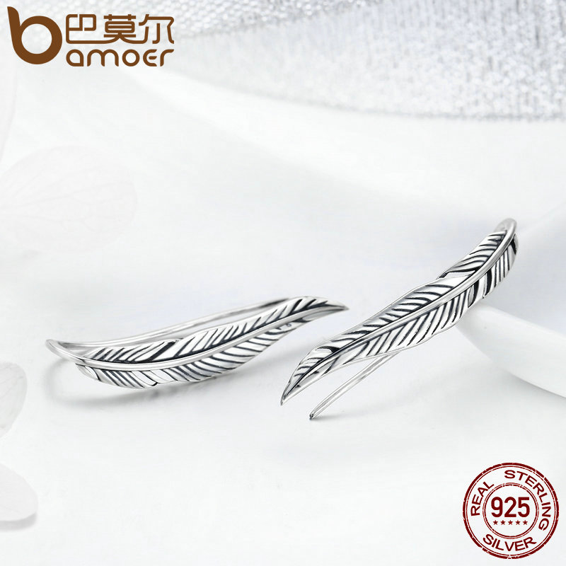 BAMOER Otentik 100% 925 Sterling Silver Feathers Wing Stud Earrings - Perhiasan fashion - Foto 4