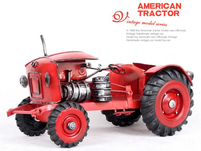 1pcs 9 5inch hand made metal traditional USA ver Red agricultural tractor model for desk deck