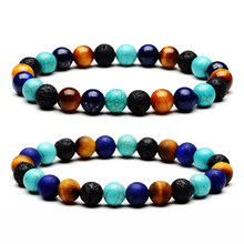 Natural Stone Purple lapis lazuli Tiger Eye Lava Colourful Mixed Bead Elastic Yoga 7 Chakra Bracelet for Women Jewelry