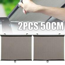 Mayitr 2pcs 50x125cm Car Window Roller Sun Shade Uv Protection Dog Baby Premium Tear Resistant Shading Auto Curtain