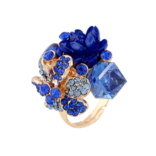 Purple flower ring for women hot sale crystal fashion party ring colorful jewelry trendy resin adjustable
