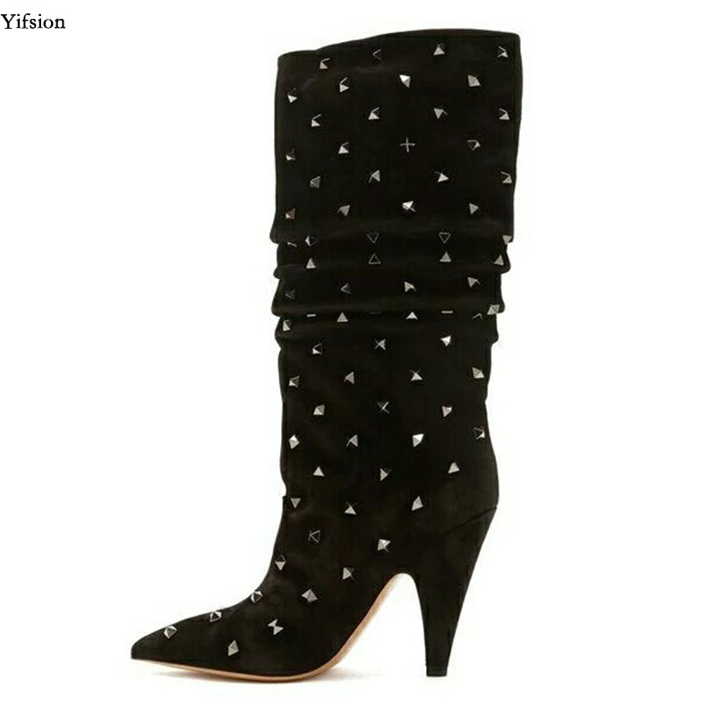 Yifsion New Fashion Women Knee High Boots Spike Heel Boots Sexy Rivets Nice Pointed Toe Black Party Shoes Women US Size 3-10.5Yifsion New Fashion Women Knee High Boots Spike Heel Boots Sexy Rivets Nice Pointed Toe Black Party Shoes Women US Size 3-10.5