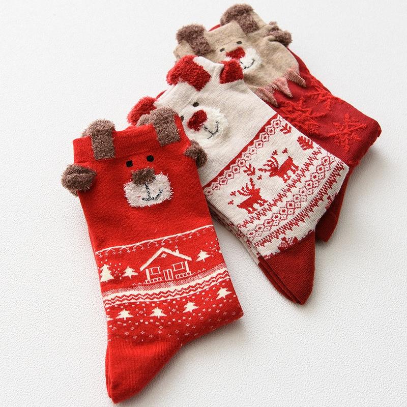 Winter Warm Women Socks Christmas Gifts Soft Cotton Stereo Cute Santa Claus Deer Socks For Ladies Mens