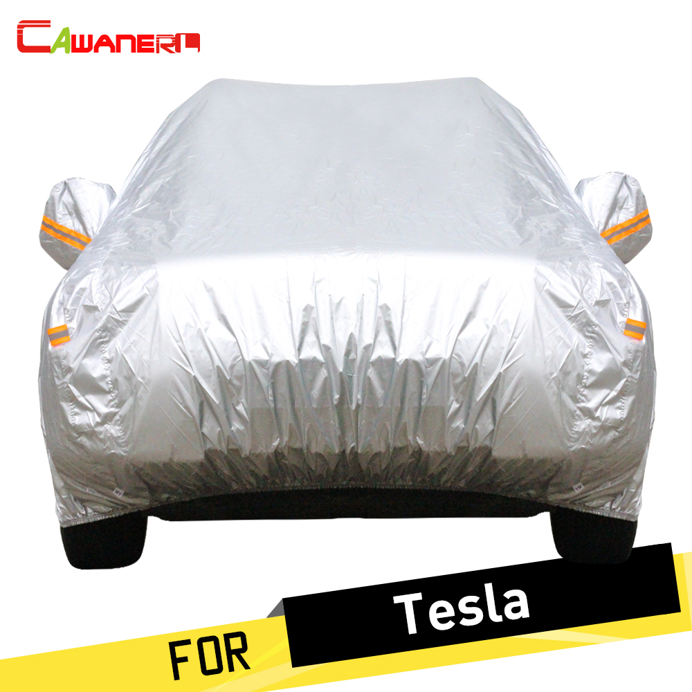 Cawanerl Full Car Cover Automotive Sun Anti UV Snow Rain Protector Dust Proof Cover All Weather Suitable ! For Tesla Model S X cawanerl full car cover waterproof all weather sun rain snow protection anti uv dust proof outdoor suv auto covers universal