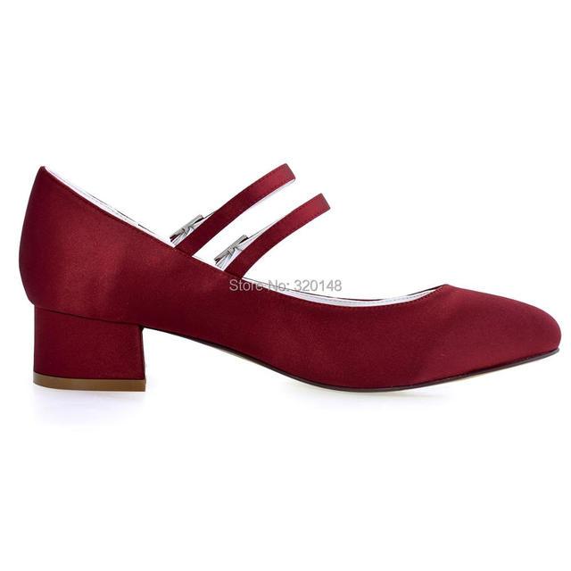 FC1615 Shoes Woman Dark Red Plus Size 12 Block heel Mary Jane Comfort Heel Satin Bride Lady Wedding Bridal Evening Pumps White 6