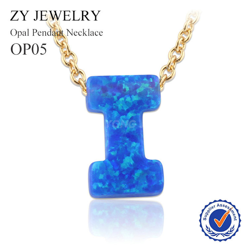 Wholesale 26 Letters Opal Necklace Synthetic Fire Blue Letter Opal Stone Necklace A B C D E F G Opal Pendant Beads Necklace