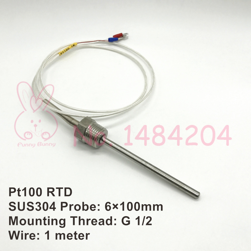 70~500℃ 1M High Temperature Cable PT100 RTD with 6mm Thread Thermometer Sensor