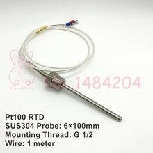 1x PT100 Temperature Sensor 6mm*100mm RTD SUS304 Probe with BSP G 1/2 G 1/4