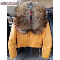 Maplesteed из натуральной овечьей кожи куртка Для женщин енота супер большой меховой воротник желтый черный, красный узкие кожаные пальто зима