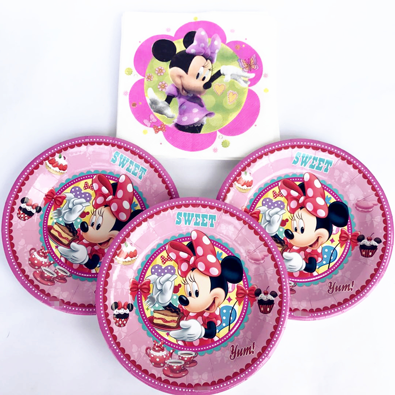 26pcs Minnie Mouse Plates And Napkins Disposable Tableware Sets Supplies 2nd Birthday Party/Baby Shower Table Dinner Decorations